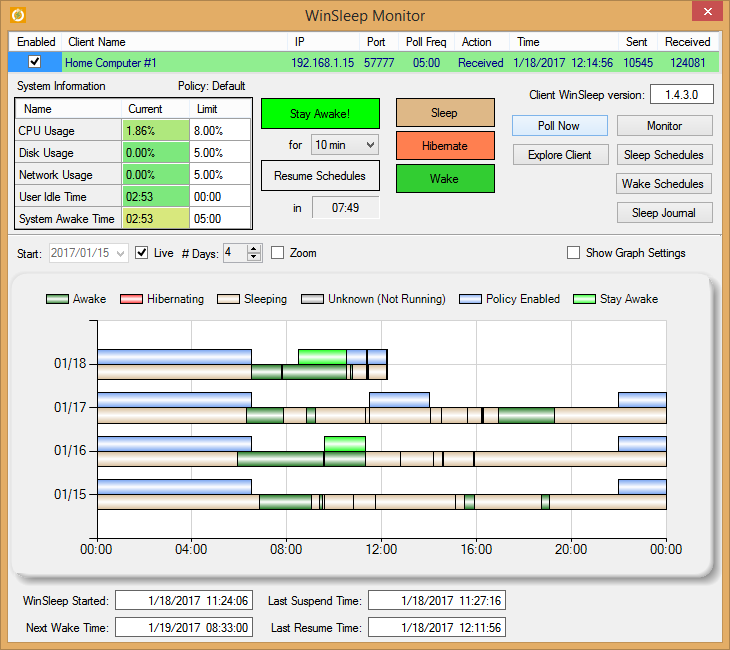Click to view WinSleep Monitor by MollieSoft 1.2.8.0 screenshot